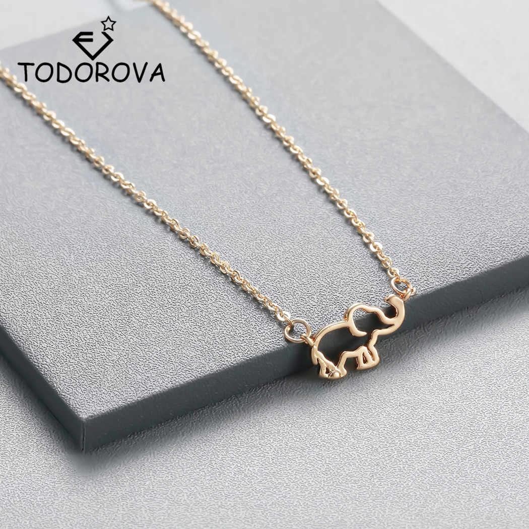 Todorova Collier Femme Stainless Steel Link Chain Origami Elephant Pendant Necklaces Clavicle Chains Statement Necklace Women