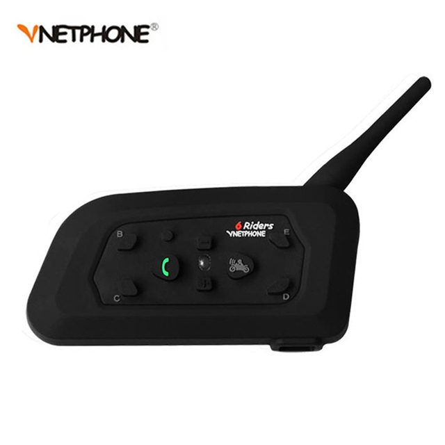 1 pcs 1200 m sem fio bt interphone bluetooth capacete da motocicleta intercom 6 riders moto motocicleta fone de ouvido intercomunicador
