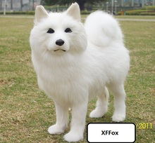 cute real life white dog model plastic&furs samoyed doll gift about 24x8x21cm xf1577