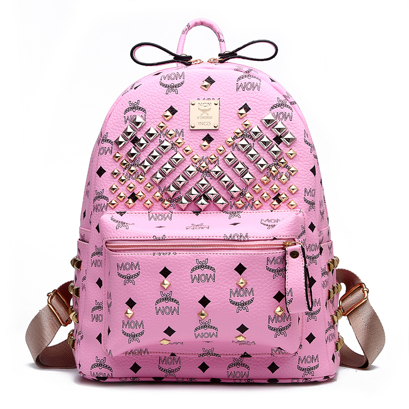 ФОТО Hot Fashion 2017 Women PU Leather Backpacks Rivet Solid Candy Colors Backpack  Vintage Girls Desigual Bag Mochila Feminina
