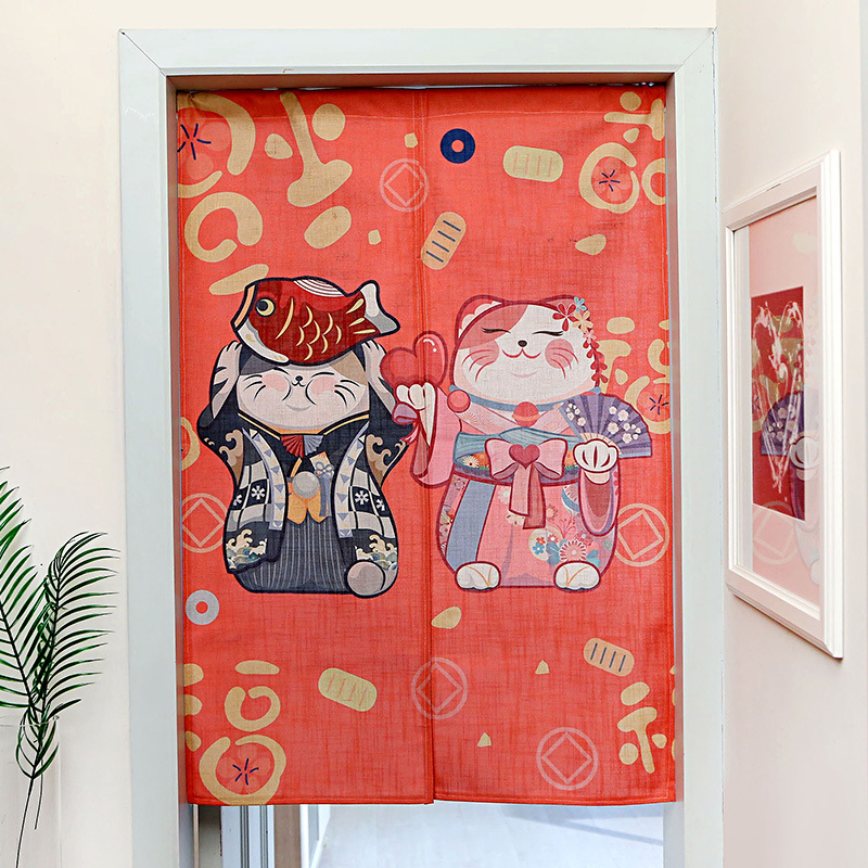 Japanese Lucky Cat Door Curtain Noren Sushi Restaurant Decoration Hanging Curtain Entrance Feng Shui Door Curtain
