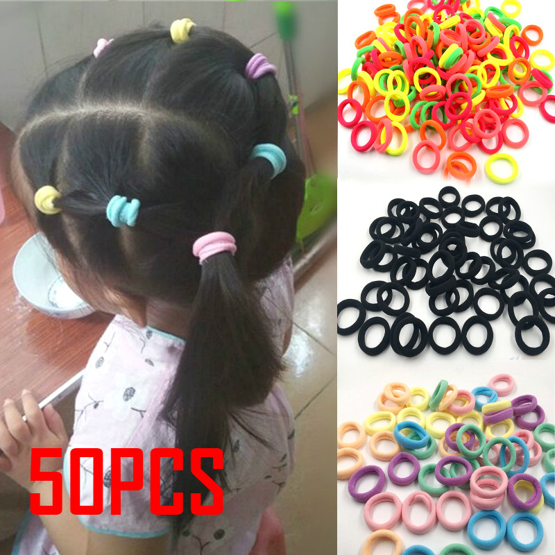 50 black color Elastic Hair Rubber Band Rope Ponytail Holders Accessory kid 1/""