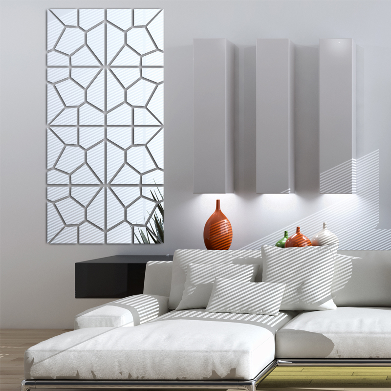 nueva pared pegatinas sala de decoración del hogar moderno espejo de acrílico m