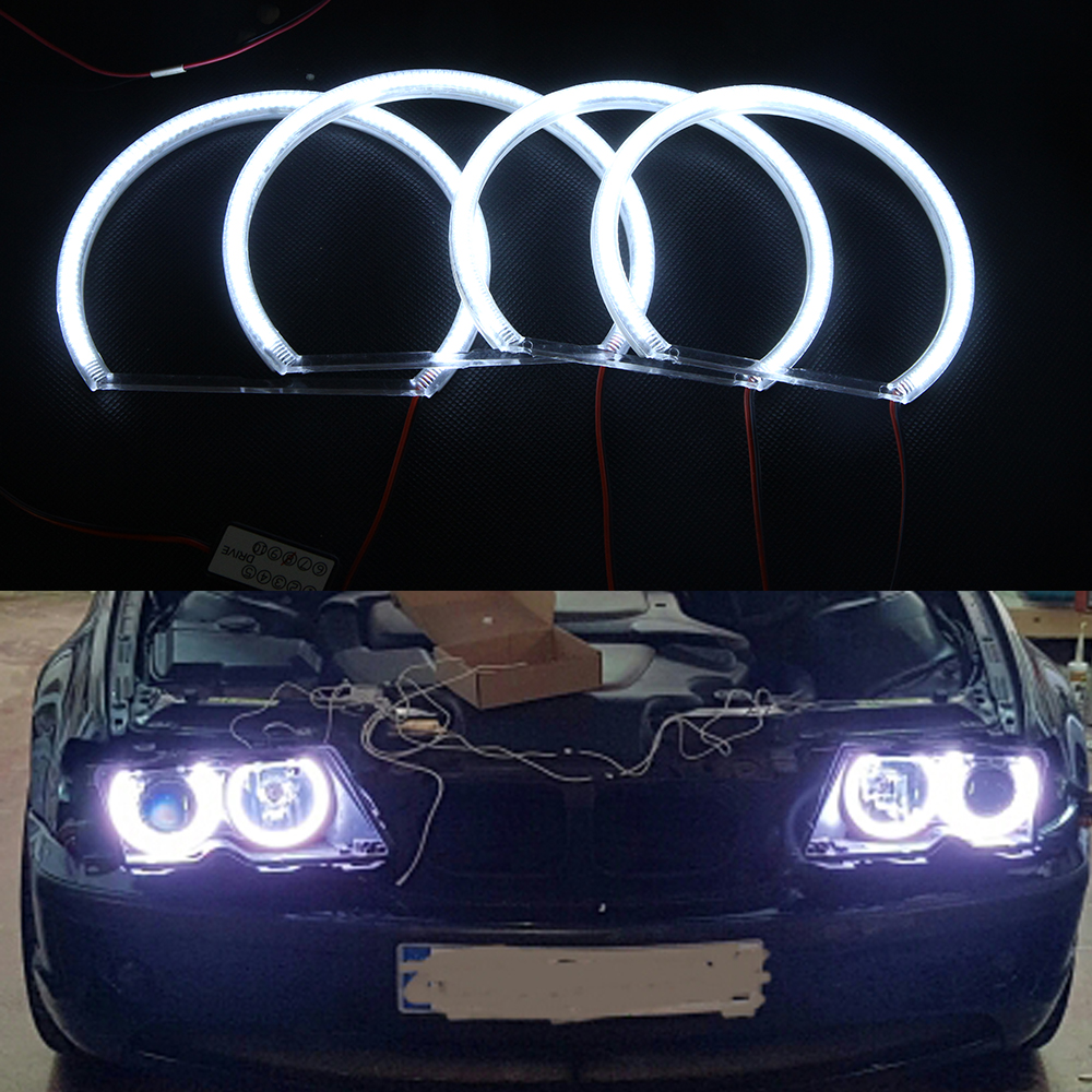 3014 LED 99 SMD Angel Eyes For BMW E46 Non PROJECTOR Halo Rings kit-white (with Non-Projector Low Beam Headlight) 7000k xenon white smd led angel eyes halo ring lighting kit for bmw e46 3 series non projector free shipping