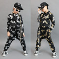 Hot! New fashion children's Casual Tracksuit Black dance wear Costumes Gold kids sport suits Hip Hop harem pants & sweatshirt