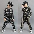 Hot! nova moda infantil Treino Ocasional Preto Trajes do desgaste da dança De Ouro crianças dos ternos do esporte Hip Hop harem pants & camisola