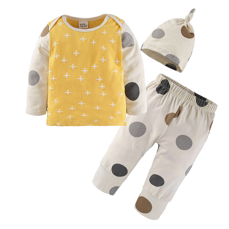 2018 Baby Boy Girl Clothes 3pcs Clothing Sets Cotton Dots Print Patchwork Long Sleeve Tops Pants Hat Newborn costume Suits 2017 new boys clothing set camouflage 3 9t boy sports suits kids clothes suit cotton boys tracksuit teenage costume long sleeve