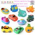 Brinquedos para o banho do bebê 5 Pçs/lote modelo do veículo carro simulação de Borracha Macia dos desenhos animados avião squeeze soando brinquedos de pulverização de água de banho