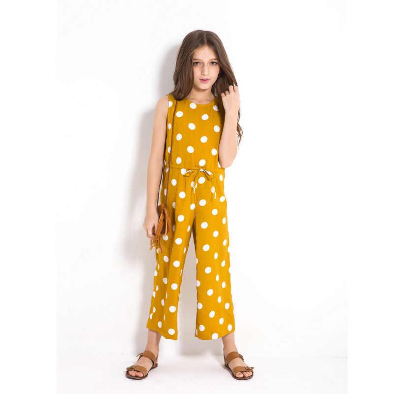 Комбинезон в горошек для девочек-подростков; летняя одежда без рукавов; Европейский стиль; Одежда для девочек; реальный рост 6, 8, 10, 12, 14 лет
