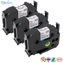 Kodex 3pack 18mm compatible Brother tze-241 label tapes for P-Touch printer black on white laminated printer ribbon tze241