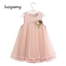 0c910e80ce Luoyamy Verão O Pescoço Pétala Colete Crianças Customes Vestidos Das Meninas  Do Bebê Da Criança Natal