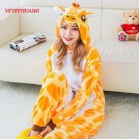 VEVEFHUANG Adult Flannel Giraffe Pajamas Onesies Cosplay Costume Cartoon Animal Children Sleepwears For Men And Women