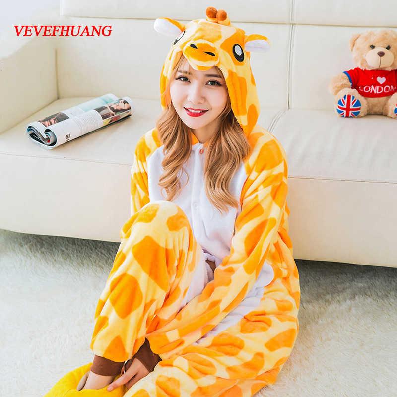 Vevefhuang взрослых фланель Жираф пижамы Комбинезоны Косплэй костюм дети  мультфильм животных для сна для Для мужчин 0098bcbb77963