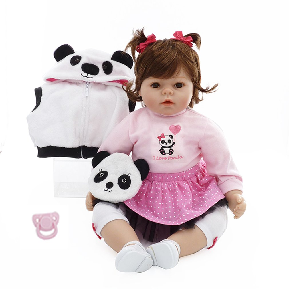 Здесь продается  50cm Cloth Body Reborn Baby Dolls With Lovely Panda Clothes Child Gift Soft Silicone Doll Funny Play House Toy Lifelike Dolls  Игрушки и Хобби