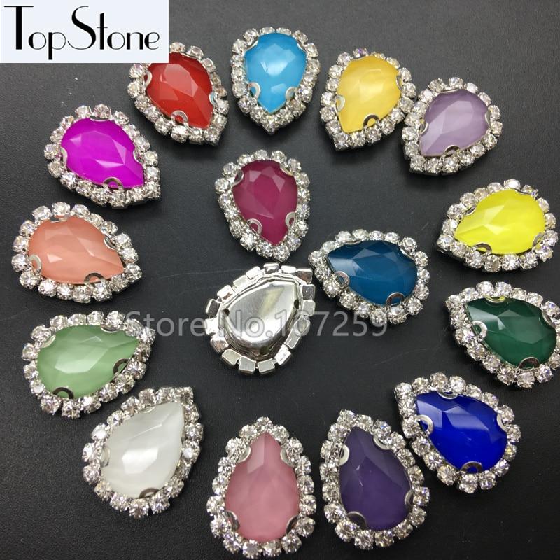 TopStone 14x10 18x13 mm Mocha Sew On Drop D Claw Crystal