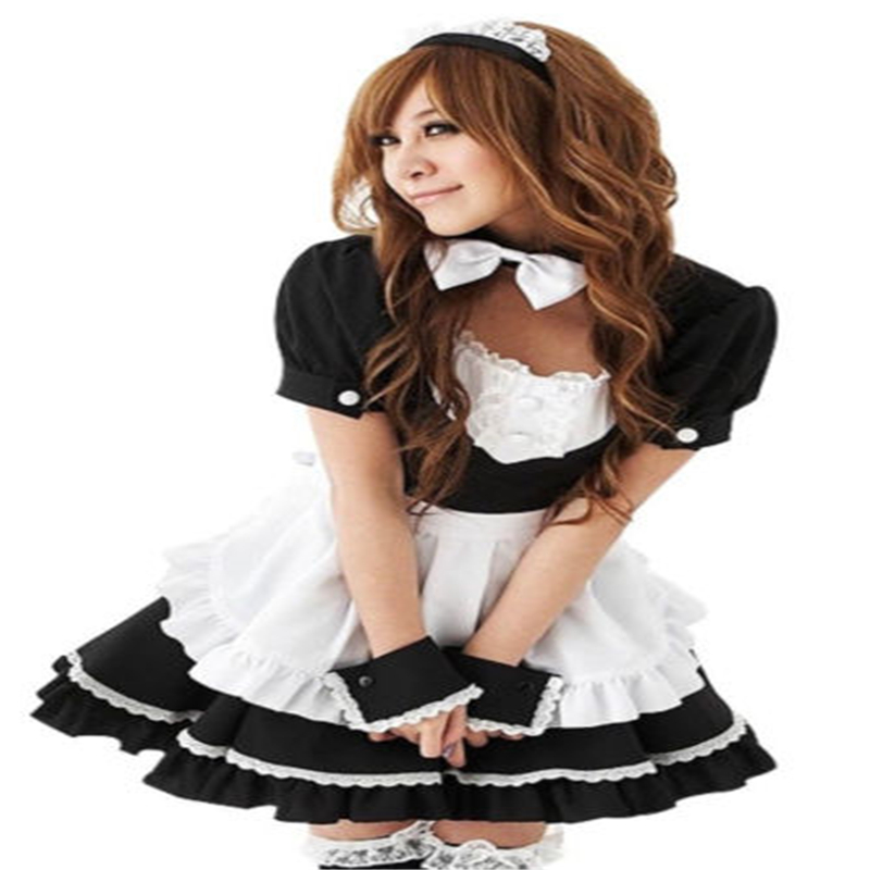 Sexy Black 2017 French Maid Halloween Outfit Cosplay Fancy Dress Costume