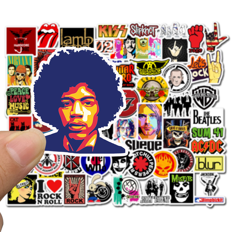 50pcs Stickers Hip Hop Rock & Roll Band Cartoon Character Graffiti Sticker Toys For Skateboard Laptop Bicycle Waterproof Decals