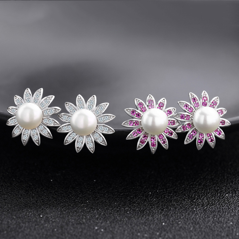 Hongye Earrings with Natural Pearls Fine Jewelry Real Silver 925 Flower Female Natural Pearls Brincos Designer 2 Color Studs