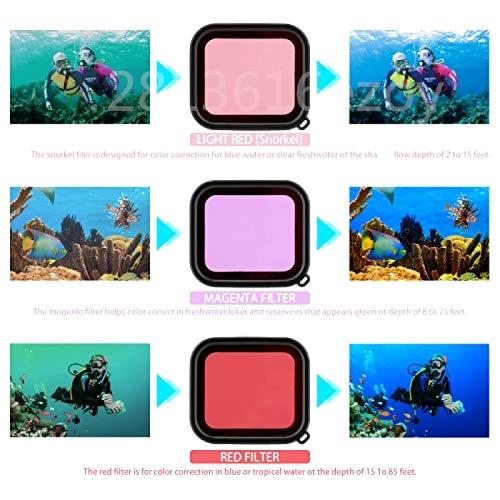 3 Pack Dive Filters Kit Red Magenta Snorkel Scuba Camera Lens Color Filter For GoPro HERO 5 6 7 Black Super Suit Housing Case