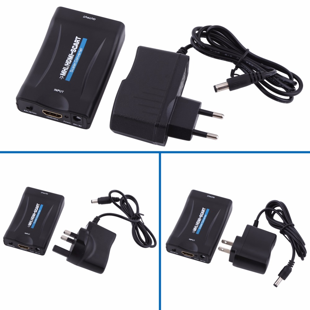MHL/HDMI to Scart Audio Video Signal Converter Adapter 1080P With Charging Cable