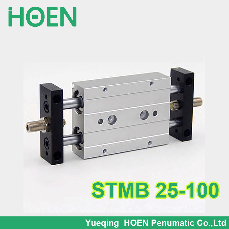 STMB 25-100 HIGH QUALITY Airtac Type Dual Rod Pneumatic Cylinder/Air Cylinder STMB Series STMB25*100 STMB25-100 high quality double acting pneumatic gripper mhy2 25d smc type 180 degree angular style air cylinder aluminium clamps