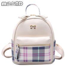 Miwind-flovely хит цвет решетки с бантом хит цвет рюкзак, новые модные качественные женские плечо мешок школы, милые дамы известный Mochila