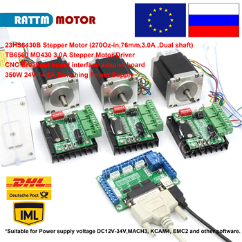 3 Axis CNC Kit Nema23 Stepper Motor (Dual Shaft) 76mm 270Oz-in & MD430 Driver & 5 Axis Breakout Board & 350W 24V Power Supply image