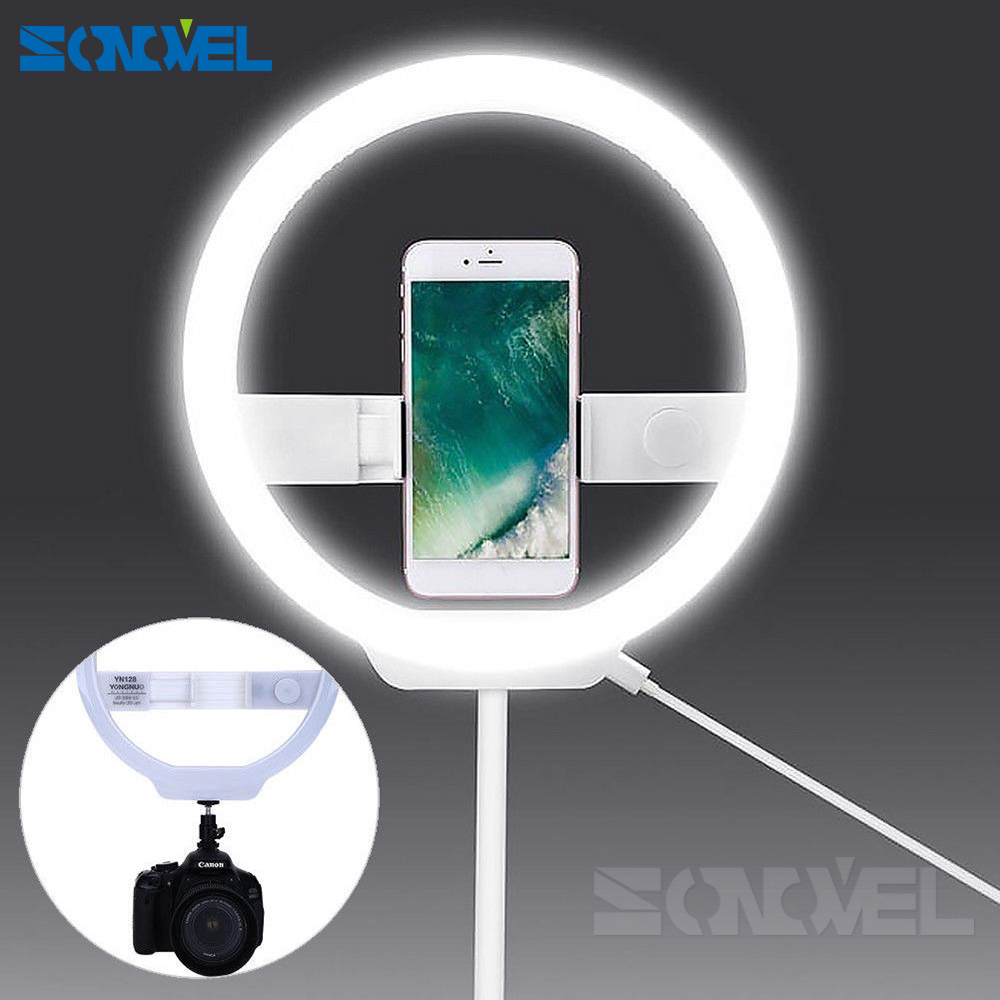 YONGNUO YN128 YN-128 Camera Photo/Studio/Phone/Video 128 LED Ring Light 3200K-5500K Photography Dimmable Ring Lamp yongnuo yn128 camera photo studio phone video 128 led ring light 3200k 5500k photography dimmable ring lamp for iphone 7 7 plus