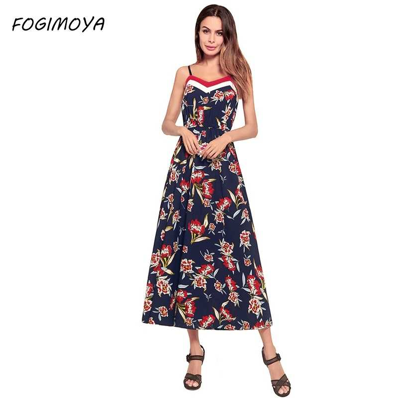 8e76aab4e9d FOGIMAYA Maxi Print Dress Women 2018 Summer Chiffon Bohemian Beach Print  Dresses Womens Sleeveless V Neck