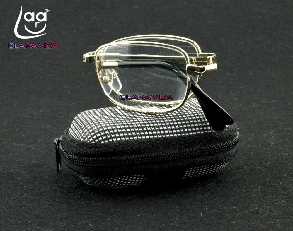 Leesbril Dy palë! Kornizë portative e artë metalike portative Portokalli për lexim me kuti rripi +1 +1.5 +2 +2.5 +3 +3.5 +4. 918