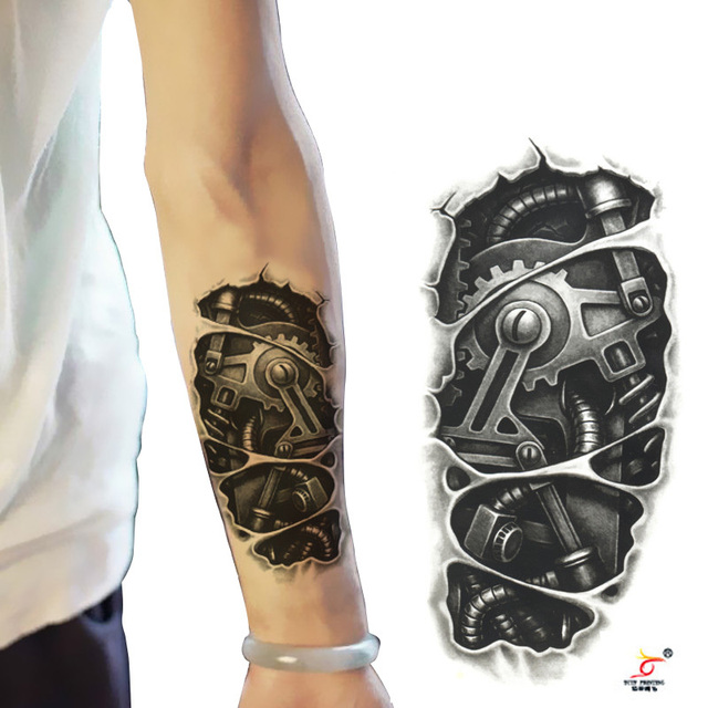 Temporary tattoos 3D black mechanical arm fake transfer tattoo ...