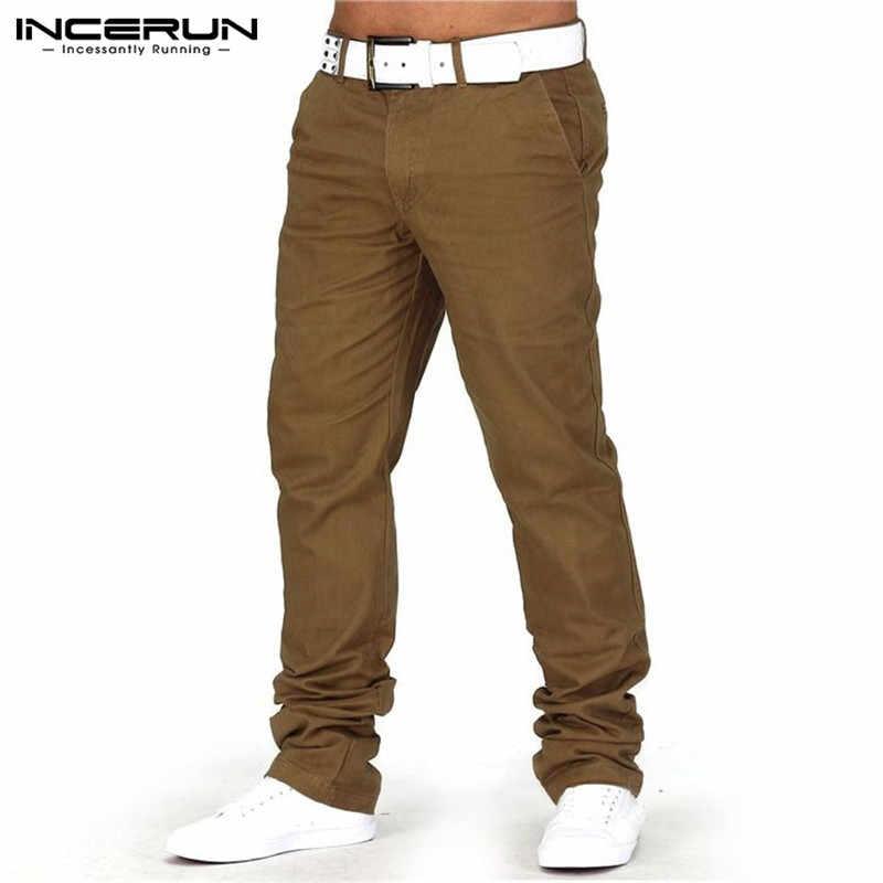 INCERUN/Новинка 2019 года; осенние деловые мужские повседневные брюки; хлопковые брюки в стиле хип-хоп; брюки для бега прямой максимальной длины; спортивные брюки