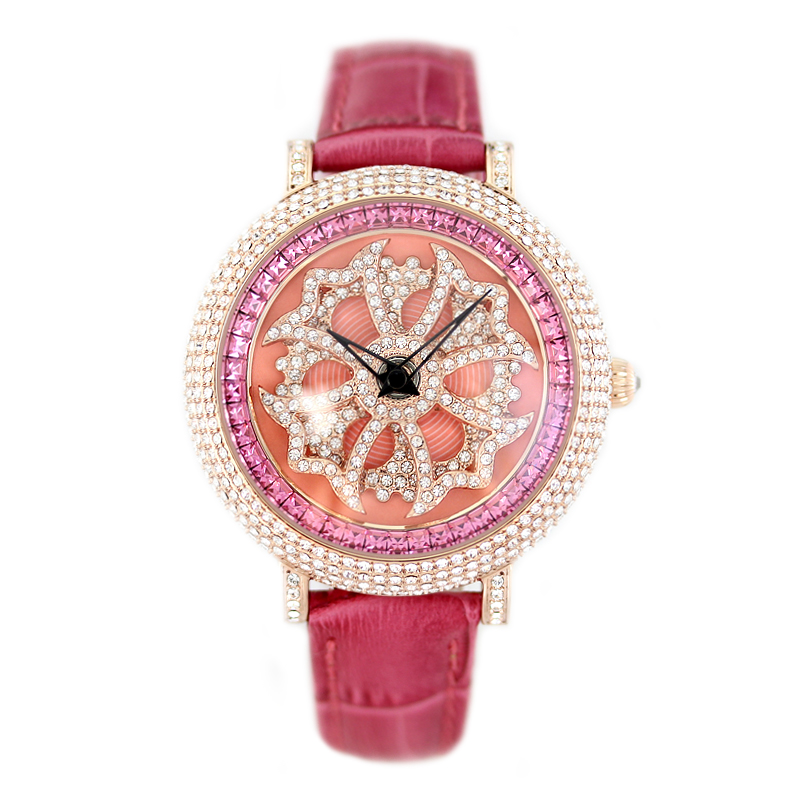 2017 New Arrival Famous PB Brand Princess Butterfly Crystal Watch The Lucky Rotate Lady Element Crystal Luxury Rhinestone Watch