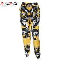 BerylBella נשים רצים מכנסי טרנינג הסוואה צהובה הסוואה רופפים גבוהים מותניים מכנסיים עיפרון מכנסיים נשים מכנסיים היפ הופ