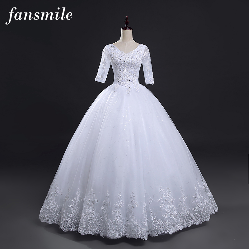 Fansmile Vintage Lace Up Ball Sleeve Wedding Dresses 2019 Plus Size Wedding Gowns Robe de Mariage