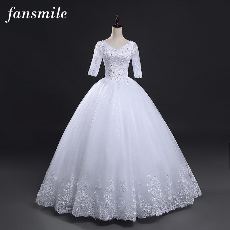 Fansmile Vintage Lace Up Ball Sleeve Wedding Dresses 2020 Plus Size Wedding Gowns Robe de Mariage Vestido de Noiva FSM-028F