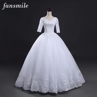 Fansmile Vintage Lace Up Ball Sleeve Wedding Dresses 2020 Plus Size Wedding Gowns Robe de Mariage Vestido de Noiva FSM 028F