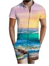 Fashion Floral Print Shirts Men+Shorts Set Men Short Sleeve Casual casual jumpsuit Clothing Sets Tracksuit Plus Size