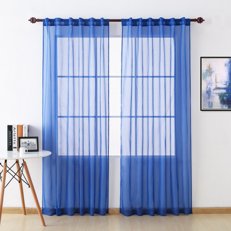 Multi Size 1 Panel Home Decor Solid Sheer Window Curtains Rod Pocket Voile Window Panels Sheers For Living Room