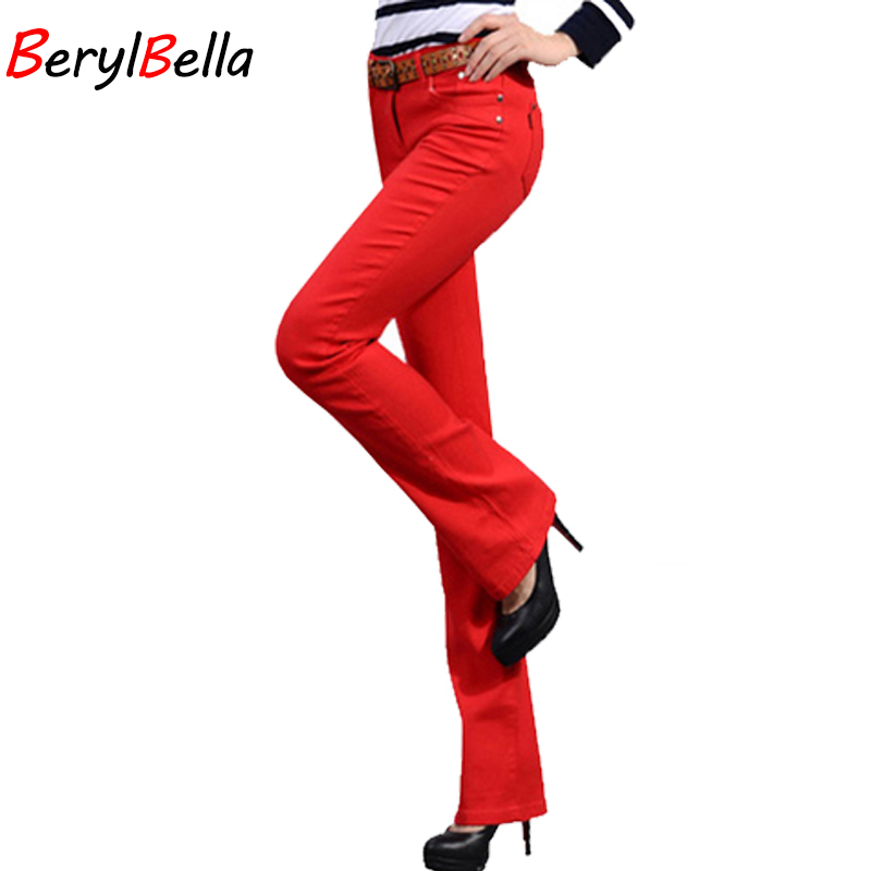 BerylBella 2018 Sweat Women Flare Pants Autumn Fashion Slim Cotton Candy Pantalones Mujer Blanco para mujer Cintura media Pantalón Talla grande