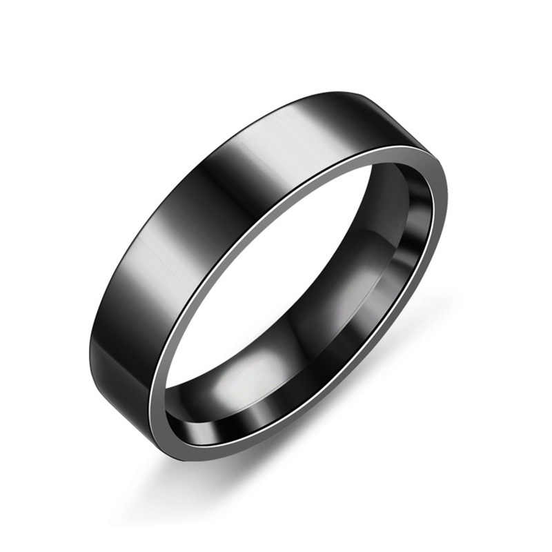 Gothic Stainless Steel Black Rings for Women Men Width 6mm Fashion Couple Simple Rings Jewelry