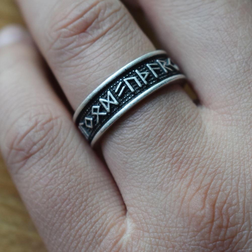 Sanlan Rune-Ring Jewelry Viking Celtics Futhark Nordic Norse Full-Size with Elder