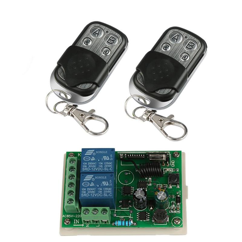 433 MHz RF 4 Channel Remote Control Switch Learning Code 1527 Transmitter + 2CH Relay Receiver 220V AC Integrated Circuit Module remote control switches dc 12v 2ch receiver long range remote control transmitter 50 1000m 315 433 rx tx 2ch relay learning code