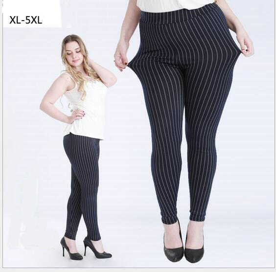 Women high elastic large size XL- 5XL stripe leggings mid waist slim skinny casual capris ankle length trousers cut pants    k03