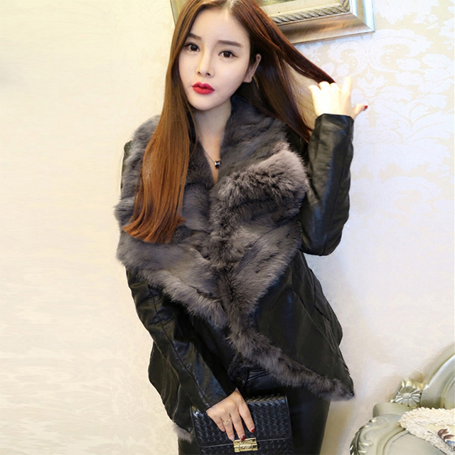 c902fc7e51 Asian Size 2017 Women Winter Luxury Real Fox Fur Belt Motorcycle Faux  Leather Jackets Female Black