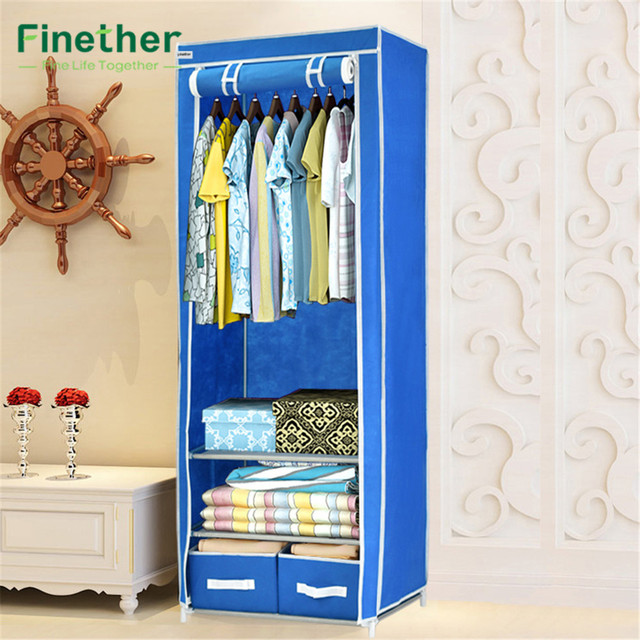 Finether Triple Canvas Clothes Wardrobe Fabric Cupboard Hanging Rail With Storage Shelves 2 Drawers Organizer For