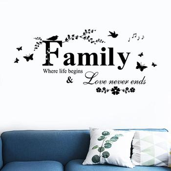Family Love Never End Quote Vinyl Wall Decal Wall Lettering Art Words Wall Sticker Home Decor Wedding Decoration Living Room 801 4