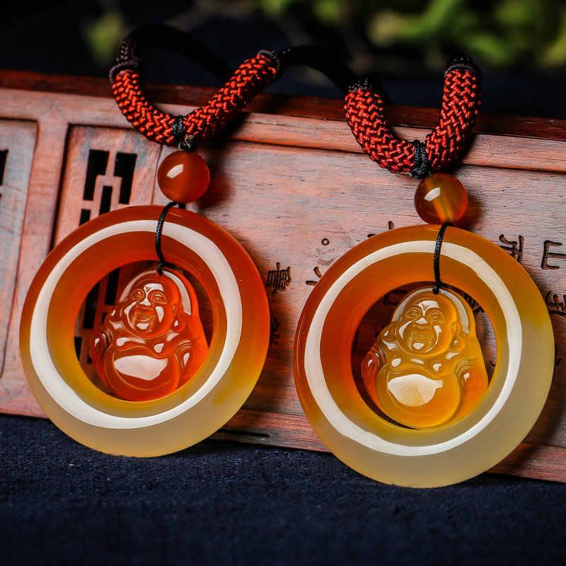 ธรรมชาติ Chalcedony พระพุทธรูปจี้สร้อยคอ Chalcedony สีเหลืองความปลอดภัยหัวเข็มขัดหญิง Jades เครื่องประดับของขวัญ