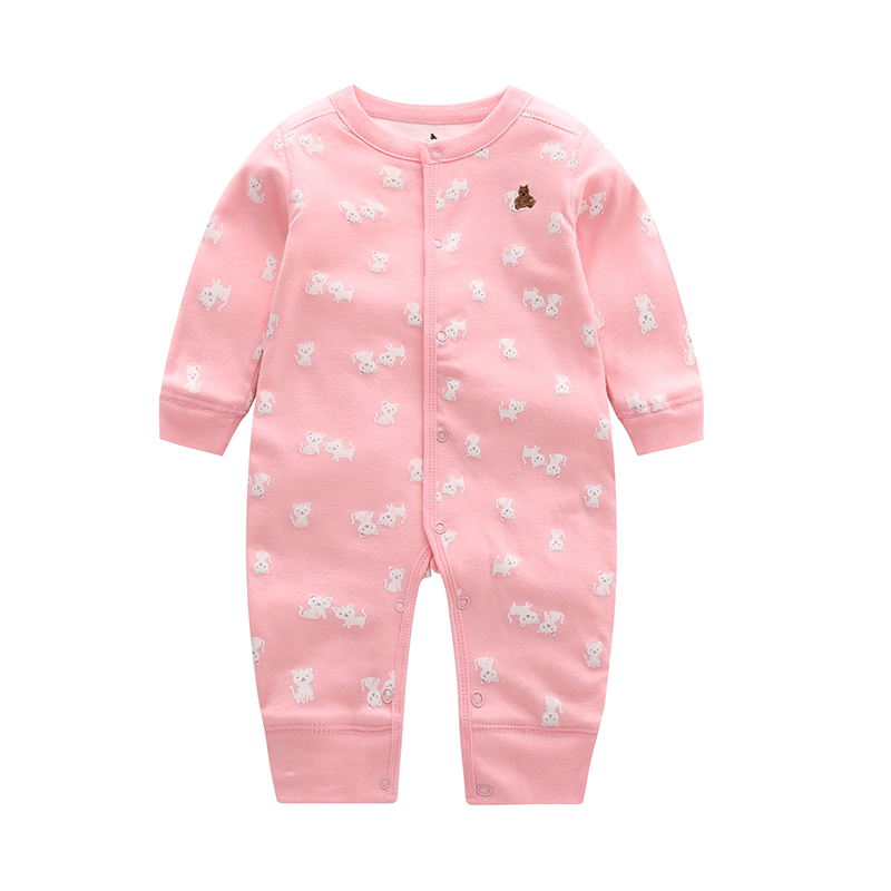 6-24M Newborn Baby Girl Clothes Cute Cat Print Long Sleeve Cartoon Printed Jumpsuit Baby Boy Romper Cotton Clothes Comfortable ...