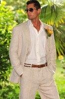 Mens Suits Designers 2018 Champagne Linen Wedding Suits For Men Formal Beach Summer Groom Jacket Custom Tuxedo 2 Pieces Terno C4